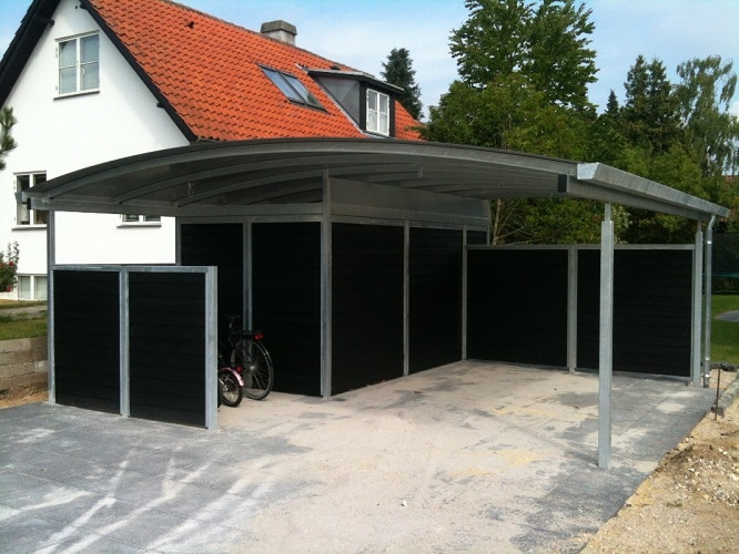 Stål carport med redskabsrum - Carporte