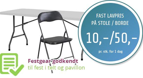 Leje af borde og stole Roskilde | festgear.dk